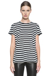 Proenza Schouler Baggy Cotton Tee In White Stripes Black