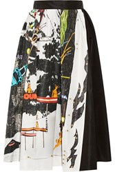 Prada Printed Silk Faille Midi Skirt Black