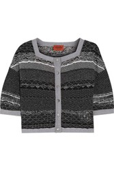 Missoni Metallic Crochet Knit Cardigan Black