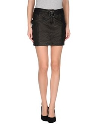 Galliano Leather Skirts Black