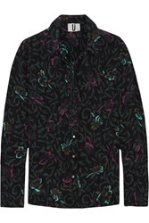 Topshop Unique Tempus Printed Silk Crepe De Chine Shirt Forest Green