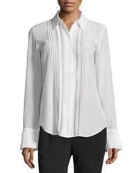 Theory Alwinth Mosaic Pleat Front Silk Top Ivory