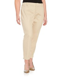 Lord And Taylor Plus Cropped Stretch Pique Pants Toast