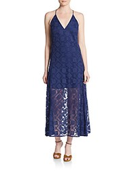 Rebecca Minkoff Falcon Geometric Lace Maxi Dress Brazil Blue