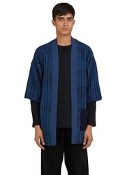 Curieux Mixed Yarn Knitted Noragi Cardigan Blue