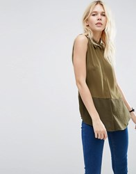Asos Sleeveless Blouse With Sheer Hem Dark Khaki Green