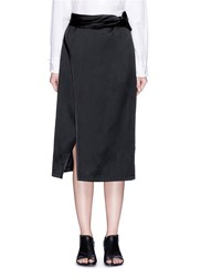 3.1 Phillip Lim Knotted Sash Waist Satin Skirt Black