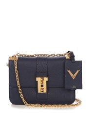 Valentino B Rockstud Leather Shoulder Bag Navy