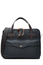 Filson Padded Tablet Briefcase With Leather Blue