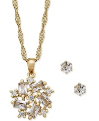 Charter Club Gold Tone Crystal Spiral Necklace And Stud Earrings Set Only At Macy's