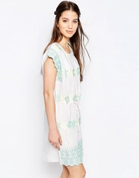Hazel Pastel Embroidered Smock Dress White