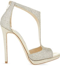 Jimmy Choo Lana 120 Glitter Heeled Sandals Champagne