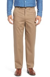 Nordstrom Men's Big And Tall Men's Shop 'Classic' Smartcare Tm Relaxed Fit Flat Front Cotton Pants Taupe