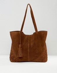 Asos Suede Shopper Bag With Weave Corners Chocolate Brown