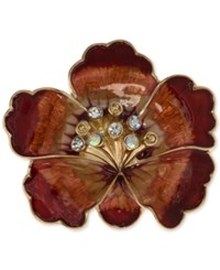 Anne Klein Gold Tone Red Enamel Crystal Flower Pin Only At Macy's