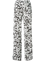 Blumarine Wide Leg Rose Print Trousers White