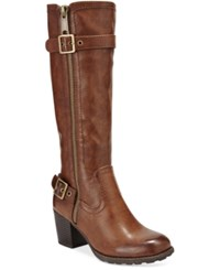 White Mountain Dover Block Heel Wide Calf Boots Women's Shoes Cognac
