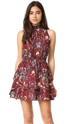 Moon River Flower Printed Dress Burgundy
