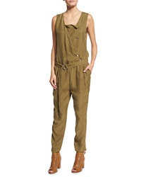 Belstaff Sleeveless Snap Front Jumpsuit Olive Green