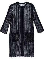Oscar De La Renta Sequined Open Knit Coat Black
