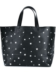 Uniform Experiment Star Print Leather Tote Bag Black