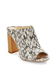 Vince Camuto Tad Snake Embossed Leather Mules Natural