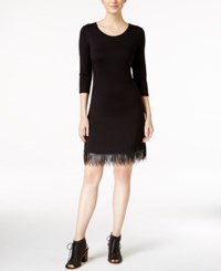 Kensie Long Sleeve Fringe Trim Sheath Dress