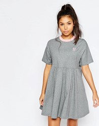Lazy Oaf Jersey Retro T Shirt Dress With Puppy Icon Gray