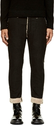 Facetasm Black And Tan Shearling Effect Lined Trousers