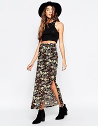 Only Tropical Printed Maxi Skirt Black Aop Paisley