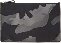 Valentino Black Camo Leather Pouch