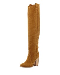 Laurence Dacade Silas Split Calf Western Style Knee Boot Camel