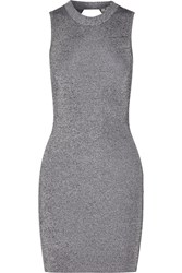 Alexander Wang Cutout Stretch Knit Mini Dress Gray