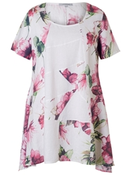 Chesca Printed Linen Tunic White Pink