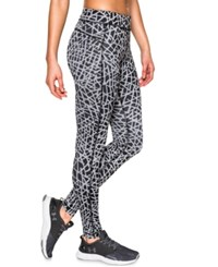 Under Armour Heatgear Printed Compression Leggings Black Steel Metallic Silver