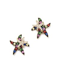 Bloomingdale's Multi Sapphire And Diamond Starfish Earrings In 14K Yellow Gold