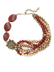 Heidi Daus Bling Of The Jungle Swarovski Crystal Lion Beaded Necklace Red