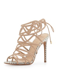Alexandre Birman Leather And Snakeskin Wavy Tie Back Pump Nude Natural