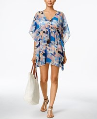 Calvin Klein Navy Geo Floral Caftan Cover Up Women's Swimsuit