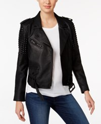 Calvin Klein Jeans Studded Faux Leather Moto Jacket Black