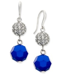 Charter Club Silver Tone Crystal Fireball And Blue Faceted Bead Drop Earrings Only At Macy's