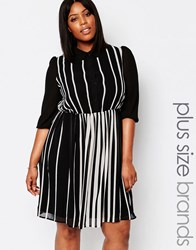 Koko Plus Skater Shirt Dress In Stripe Black White