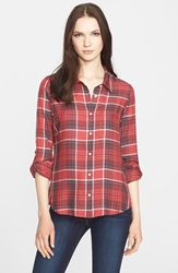 Soft Joie 'Anabella L' Plaid Woven Shirt Garnet Rose