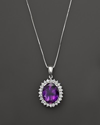 Bloomingdale's 14K White Gold Diamond And Amethyst Oval Necklace Purple White