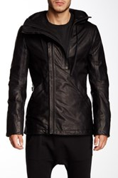 Helmut Lang Hooded Leather Jacket Black