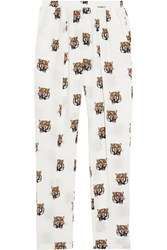 Stella Mccartney Christina Printed Silk Crepe Tapered Pants White