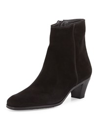 Gravati Suede Stack Heel Ankle Bootie Black Size 34.5B 4.5B