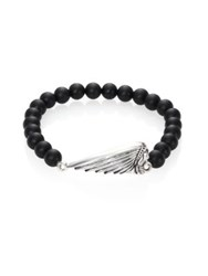 King Baby Studio Onyx Bead And Sterling Silver Bracelet Silver Black