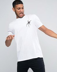Asos Halloween Longline T Shirt With Hanging Spider Print In White White