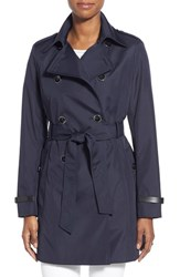 Women's Via Spiga Faux Leather Trim Trench Coat Navy